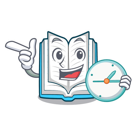 With clock opened book isolated in the character vector illustration Иллюстрация