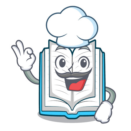 Chef opened book isolated in the character vector illustration Illustration