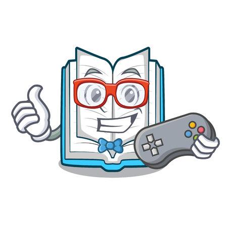 Il giocatore ha aperto il libro nell'illustrazione vettoriale della mascotte di forma