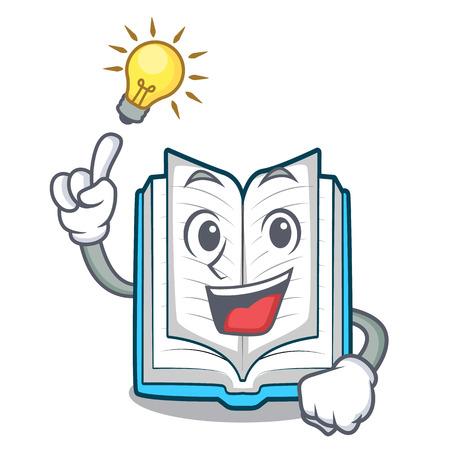Avere un'idea libro aperto nell'illustrazione di vetor della scatola dei cartoni animati Vettoriali