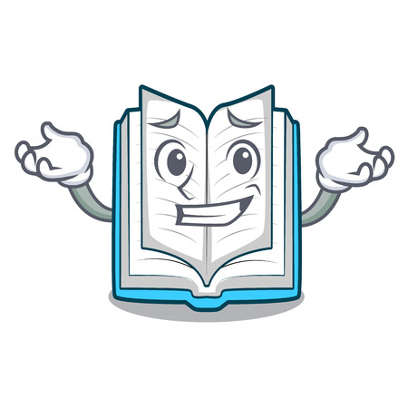 Grinning opened book isolated in the character vector illustration