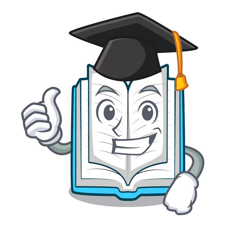 Graduation opened book isolated in the character vector illustration
