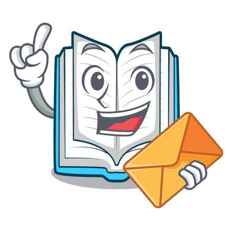 Avec enveloppe livre ouvert isolé dans l'illustration vectorielle de caractère