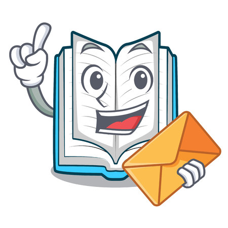 With envelope opened book isolated in the character vector illustration Illustration