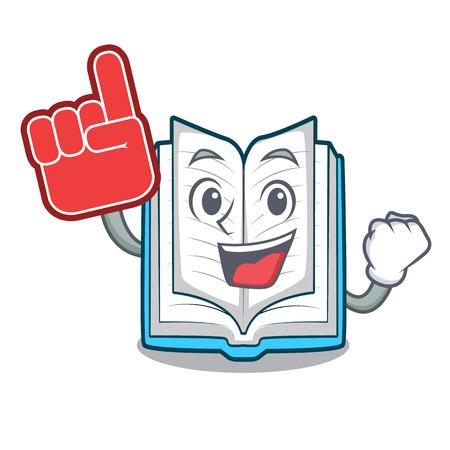 Foam finger opened book in the cartoon box vetor illustration