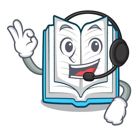 Mit Kopfhörer geöffnetes Buch in der Cartoon-Box-Vetor-Illustration Vektorgrafik