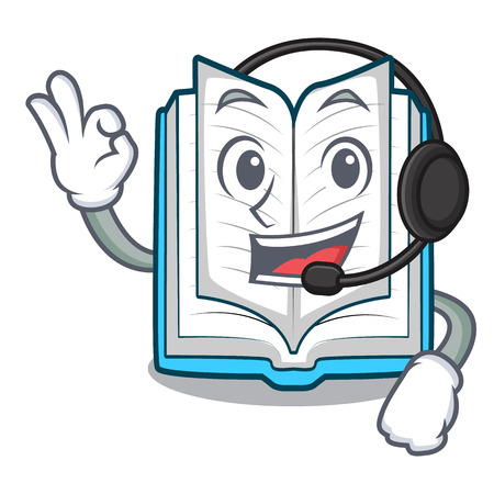 With headphone opened book in the cartoon box vetor illustration Vector Illustration