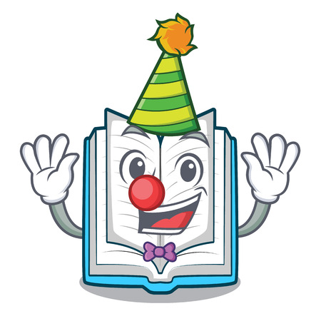 Clown opened book in the cartoon box vetor illustration
