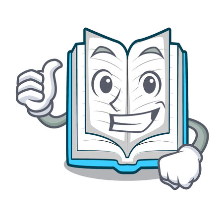 Thumbs up opened book isolated in the character vector illustration Illustration