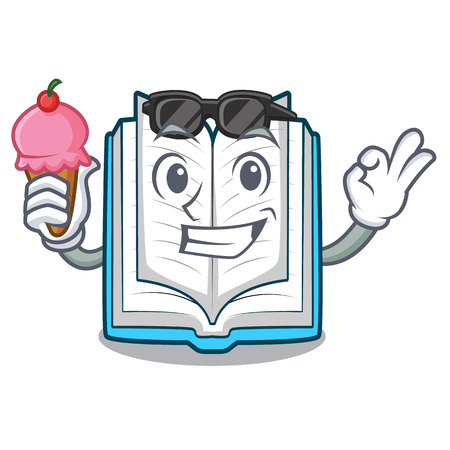 With ice cream opened book isolated in the character vector illustration