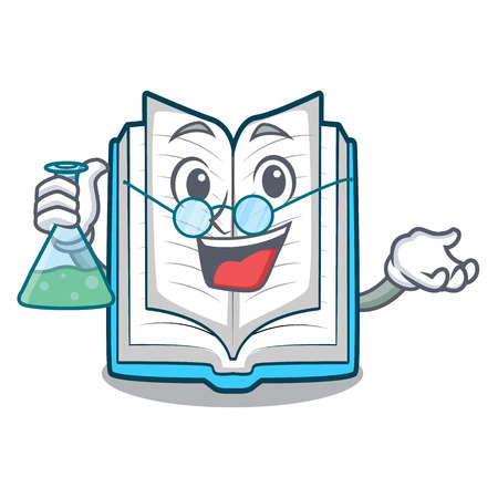 Professor opened book isolated in the character vector illustration