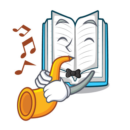 With trumpet opened book in the shape mascot vector illustrtion