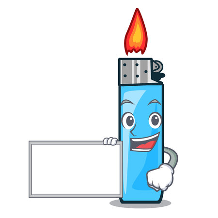 With board plastic lighters in the character shape vector illustration