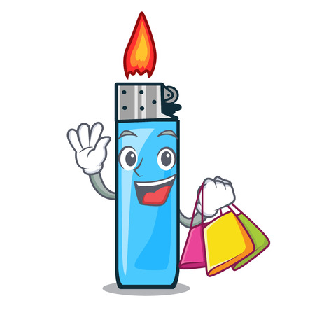 Shopping plastic lighters isolated in the cartoon vector illustration Illustration