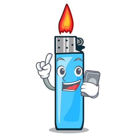 With phone plastic lighters in the character shape vector illustration