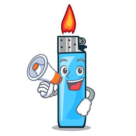 With megaphone plastic lighters in the character shape vector illustration