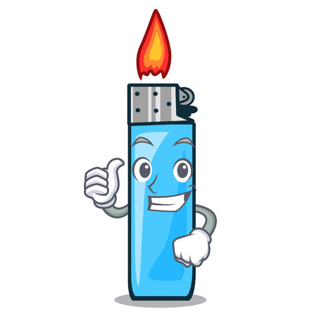 Thumbs up plastic lighters isolated in the cartoon vector illustration