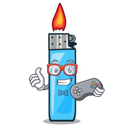 Gamer plastic lighters placed the mascot pocket vector illustration Ilustração