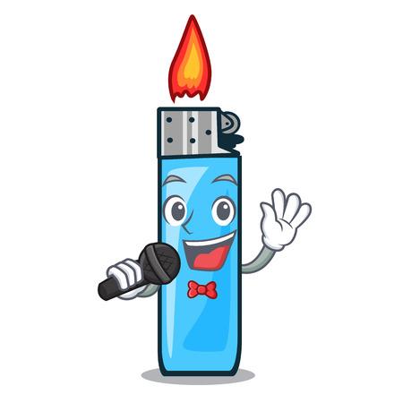 Singing plastic lighters placed the mascot pocket vector illustration