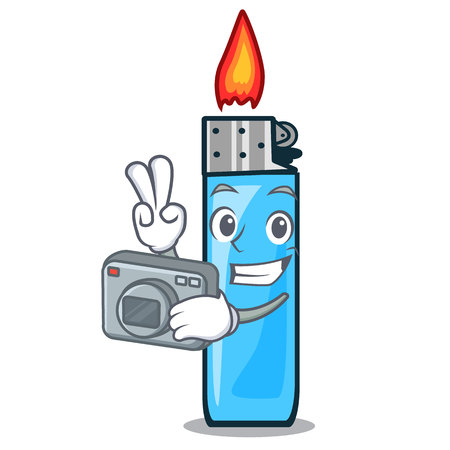 Photographer plastic lighters placed the mascot pocket vector illustration