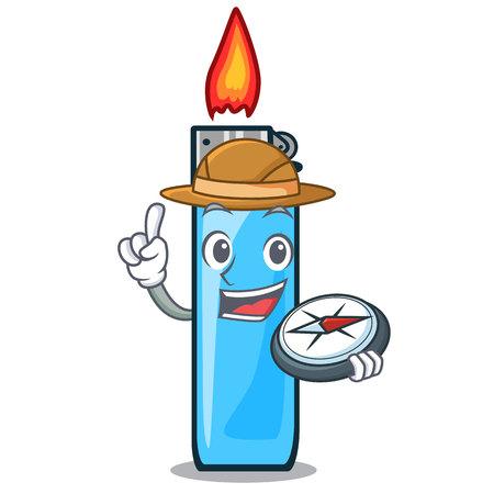 Explorer plastic lighters placed the mascot pocket vector illustration