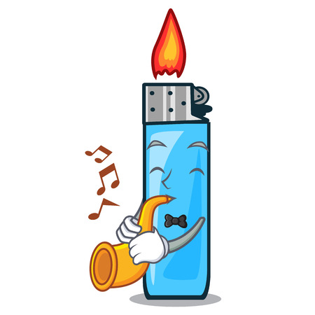 With trumpet plastic lighters placed the mascot pocket vector illustration