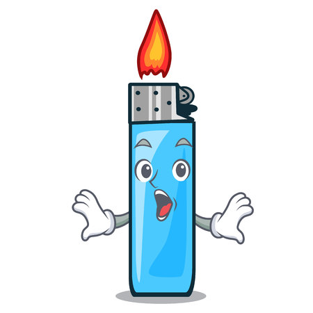 Surprised plastic lighters placed the mascot pocket vector illustration