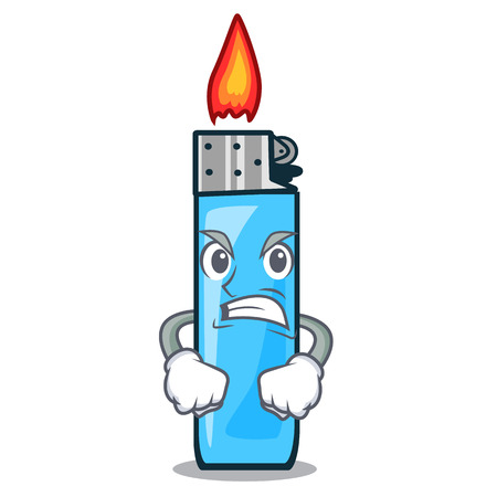 Angry plastic lighters placed the mascot pocket vector illustration