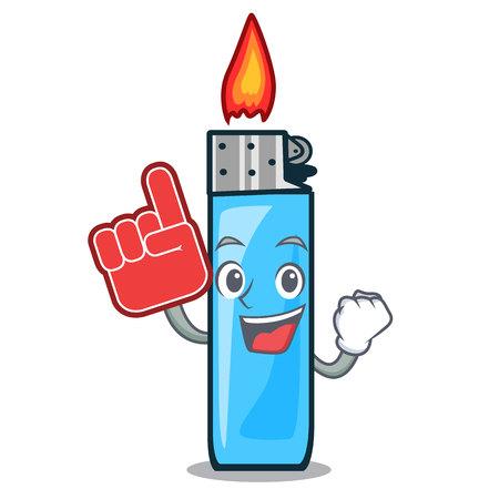 Foam finger plastic lighters above tables cartoon wood vector illustration
