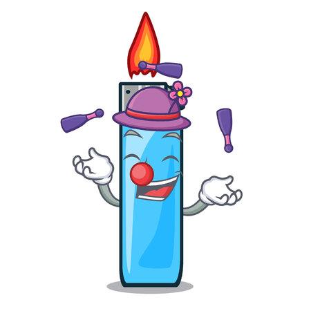 Juggling plastic lighters above tables cartoon wood vector illustration