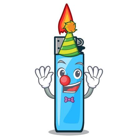 Clown plastic lighters above tables cartoon wood vector illustration Ilustração