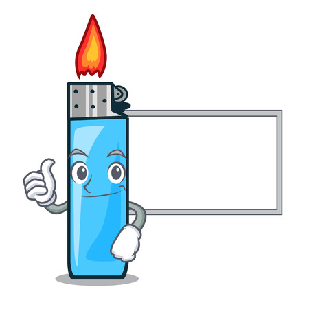 Thumbs up with board plastic lighters in the character shape vector illustration