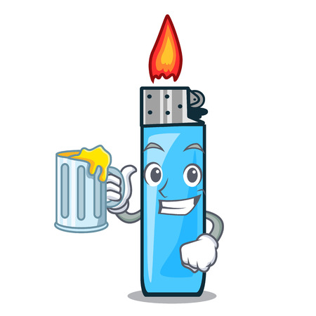 With juice plastic lighters placed the mascot pocket vector illustration