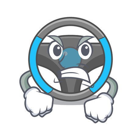 Angry steering wheel in a mascot box vector illustration