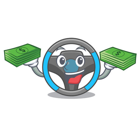 With money bag steering wheel in a mascot box vector illustration