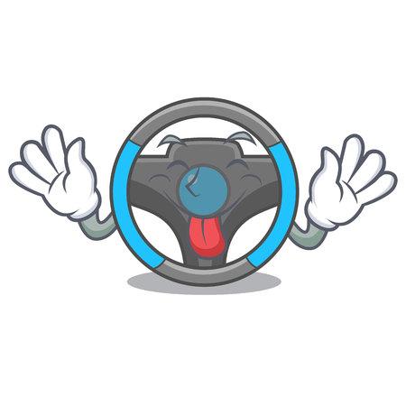 Tongue out miniature steering wheel in cartoon shape vector illustrtion