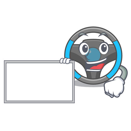 With board steering wheel isolated in the cartoon vector illustration