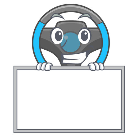 Grinning with board steering wheel isolated in the cartoon vector illustration