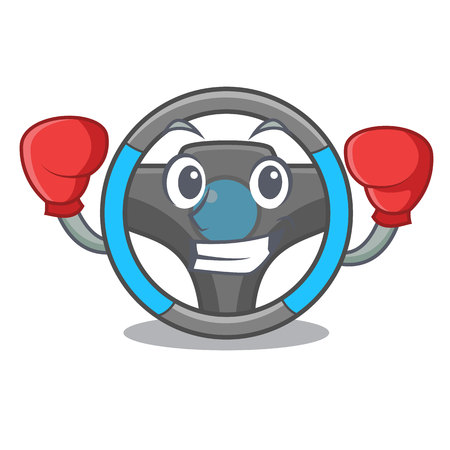 Boxing steering wheel isolated in the cartoon vector illustration