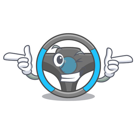 Wink steering wheel in the character shape vector illustration