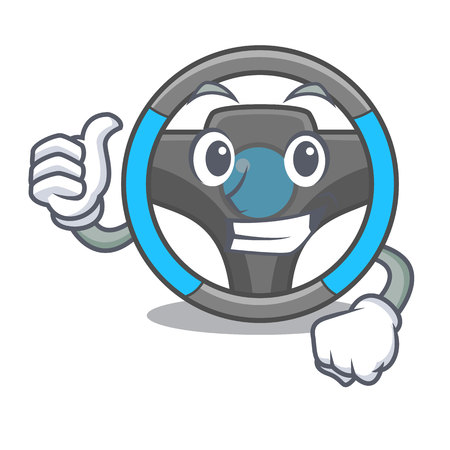 Thumbs up steering wheel in the character shape vector illustration