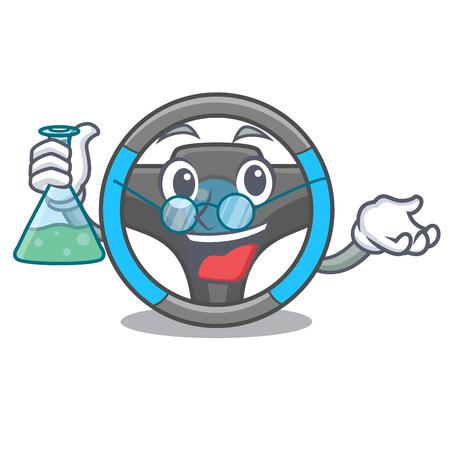 Professor steering wheel in the character shape vector illustration