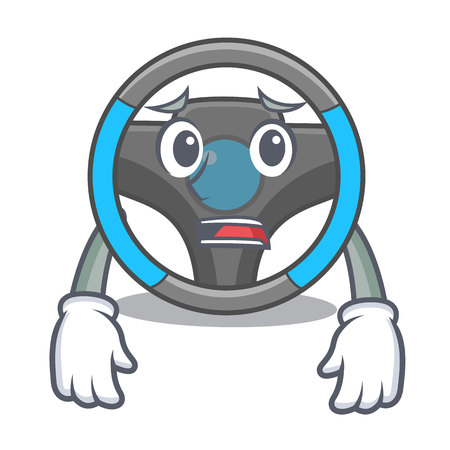Afraid steering wheel in a mascot box vector illustration Banco de Imagens - 124484002