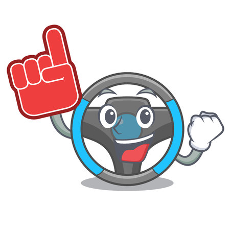 Foam finger miniature steering wheel in cartoon shape vector illustrtion Ilustração