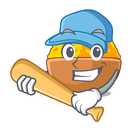 Playing baseball turmeric powder isolated with the mascot vector illustration