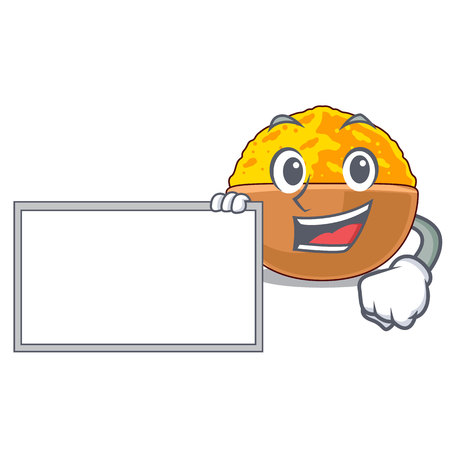 With board turmeric powder isolated with the mascot vector illustration