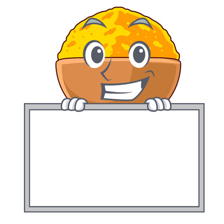 Grinning with board turmeric powder isolated with the mascot vector illustration Ilustração