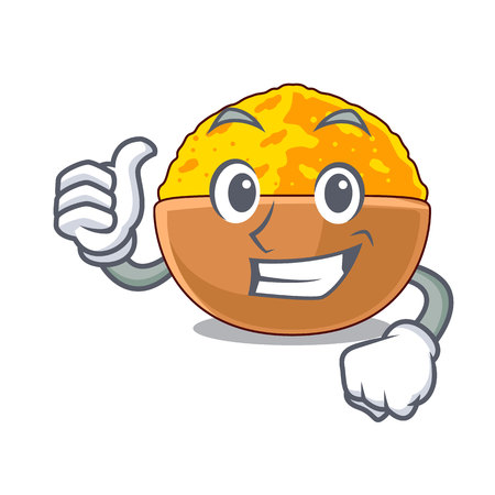 Thumbs up turmeric powder in the character bowl vector illustration Illustration