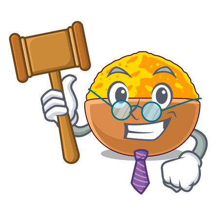 Judge turmeric powder placed wooden cartoon table vector illustration Illusztráció