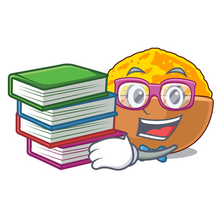 Student with book turmeric powder placed wooden cartoon table vector illustration Standard-Bild - 124484069